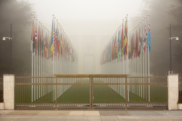 United Nations Gate Flags Geneva Switzerland