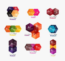 Set of abstract geometric hexagon design with options and text