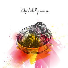 Gulab Jamun watercolor effect illustration.