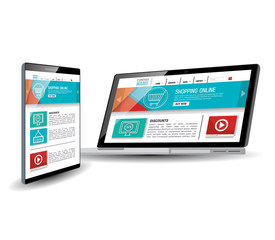 Website template in electronic devices vector illustration design