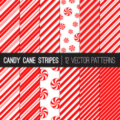 Candy Cane Stripes and Peppermints Vector Patterns in Red and White. Popular Christmas Background. Variable thickness diagonal lines. Pattern Swatches Made with Global Colors.