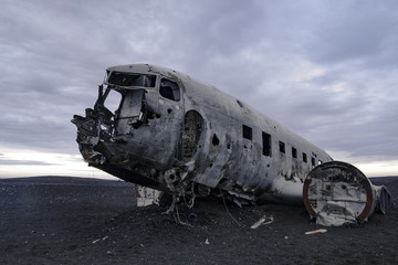 Closeup of an abandoned DC-3 wreck on a beach in Iceland Wall mural