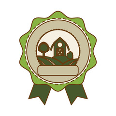 seal stamp with farm barn icon over white background. colorful design. vector illustration