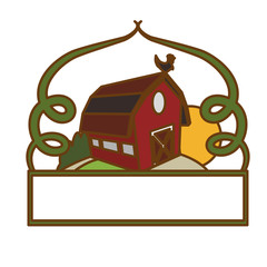 frame with farm barn icon over white background. colorful design. vector illustration