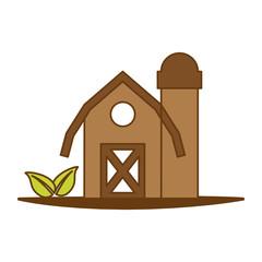 farm barn icon over white background. colorful design.  vector illustration
