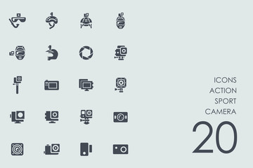 Set of action sport camera icons