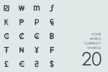 Set of world currency symbols icons