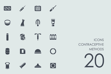 Set of contraceptive methods icons