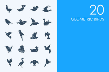 Set of geometric birds icons