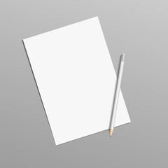 Vector realistic paper and pencil mock up isolated eps 10