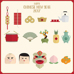 Happy chinese new year 2017 icons set vector