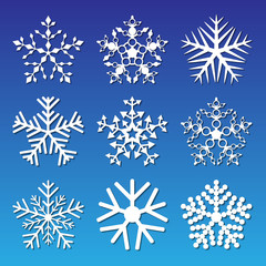 Set of snowflakes. Nine different white snowflakes on a blue background.