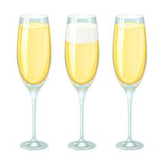 бокалы шампанского с пеной и пузырьками в разном количестве, изолированные на белом фоне