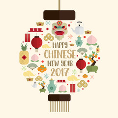 Happy chinese new year 2017 icons set form Chinese lantern vecto