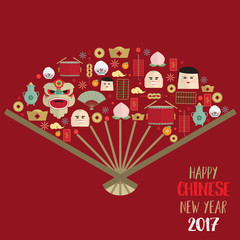 Happy chinese new year 2017 icons set form Chinese fan vector