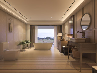3d rendering luxury bathroom with classic furniture and beautiful view