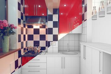 Small kitchen interior half finished