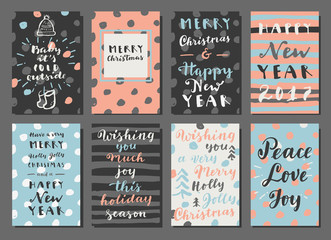 Merry Christmas and Happy New Year hand colorful drawn modern calligraphy cards