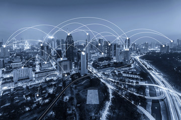 City scape in blue tone. Network connection concept
