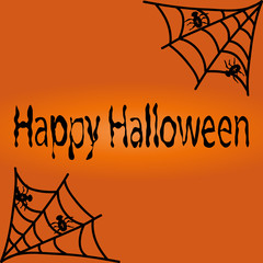 black spiders with cobwebs and the words Happy Halloween on an orange background. Festive new  illustration.