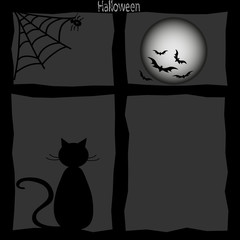 A lone black cat sitting on a window, the spider web on moon bats on a gray background. New modern  illustration
