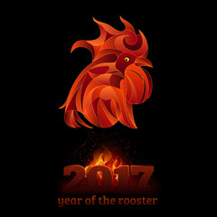 Fire rooster, vector illustration