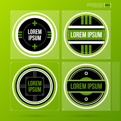 Set of 4 corporate labels/logos in flat style on green background. Useful for presentations or web design. Vector template.