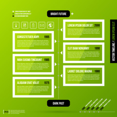 Timeline template on fresh green background. Useful for presentations and history infographics.