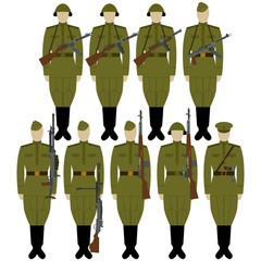 Soldiers with guns of World War II