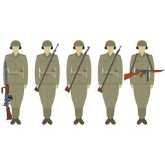 US soldiers with weapons of World War II