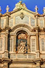 Facade of Cathedral of Santa Agatha, Catania duomo in Catania in Sicily, Italy.