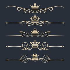 Vector set. Victorian Scrolls and crown. Decorative elements design. Gold on black background