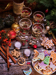 Christmas still-life, top view. Punch in glasses and Christmas cookies.
