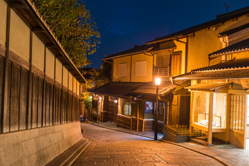 Yasaka Pagoda and Sannen Zaka Street at night, Kyoto, Japan,