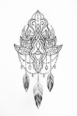 Sketch of a lotus with patterns on white background.