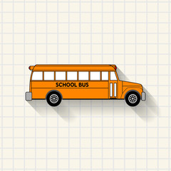 School bus on mathematical squares paper