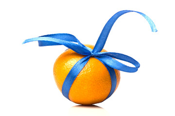 ripe tangerine one gift with a blue ribbon close