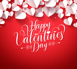 Happy Valentines Day Greetings Typography In Red Background With Paper Cut  White Hearts Shape Decorations.