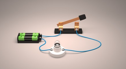 Electric circuit showing open switch using a light bulb and batteries.
