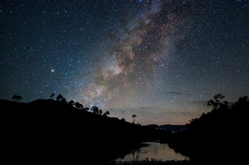 Landscape of Milky way over reservoir with mountain and deep for