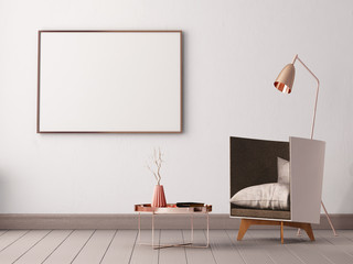 mock up poster in the interior of a living room with armchairs and lamps. 3d illustration 3d render.