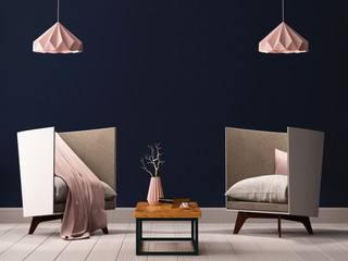 Interior living room with empty walls, chair and lamp. 3d rendering, 3d illustration