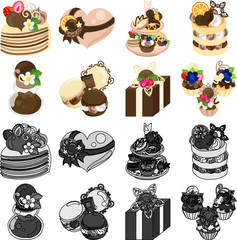 The mil crepe and dishes and pancake and jam and macaroon and cupcake and etc of chocolate