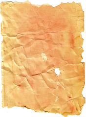 Creased tattered torn paper background.