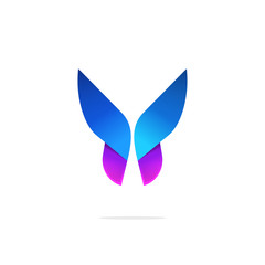 Butterfly colorful logo template with gradient on wings, abstract purple butterfly shape in blue and violet colors, elegant modern vector butterfly element design for business card, brand or identity