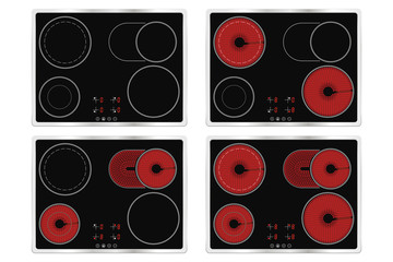 Electric ceramic cook top. Domestic kitchen household appliance