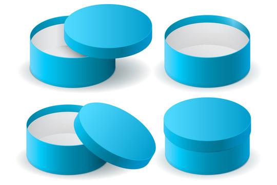 Blue round gift box