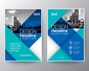 Blue diagonal line Brochure annual report cover Flyer Poster design Layout vector template in A4 size