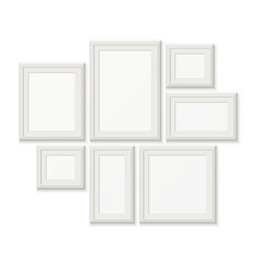 Empty white pocture frames, 3d photo borders isolated on wall
