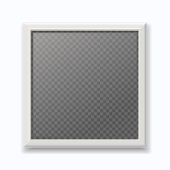 Realistic white picture frame, modern empty photo  isolated on  wall